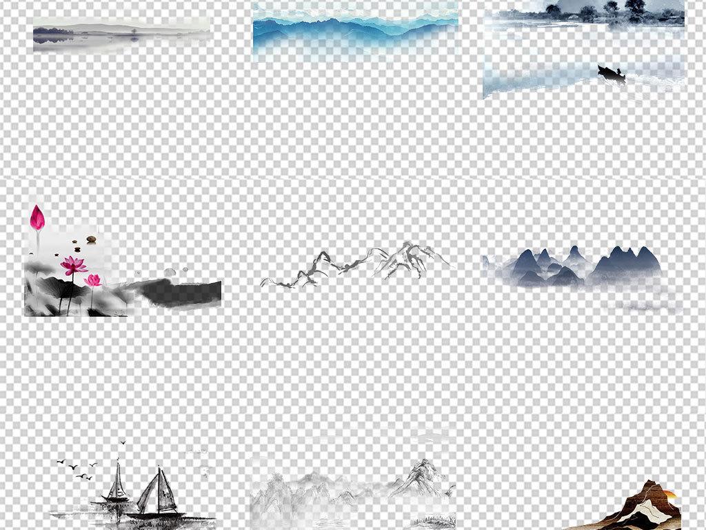 中国风水墨山水古风古典海报背景png免扣素材