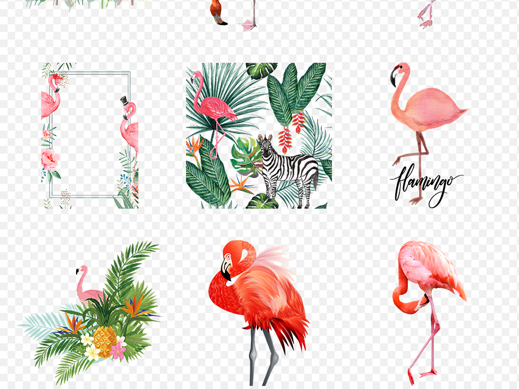 背景手绘背景森系火烈鸟素材可爱