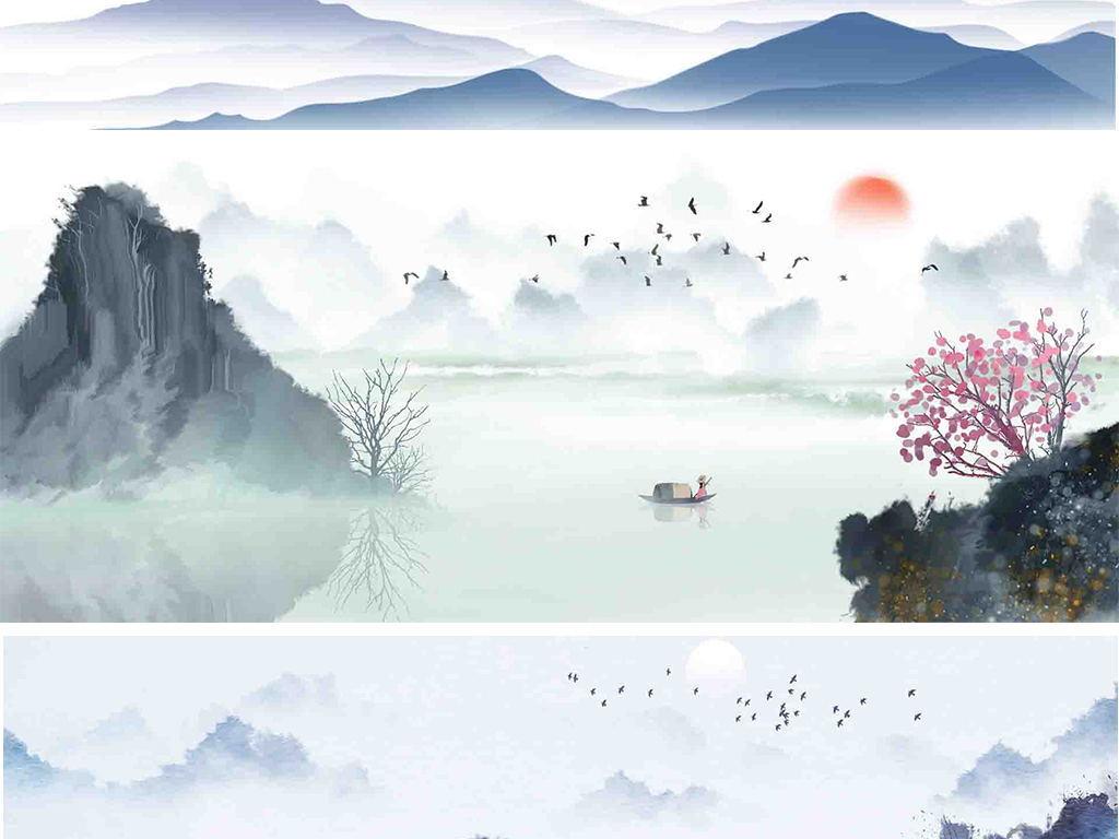 中国风水墨山水古风古典花鸟荷花海报banner背景