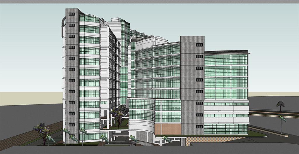 商业建筑模型商业景观医院建筑效果图屋顶花园商业建筑医院建筑高层