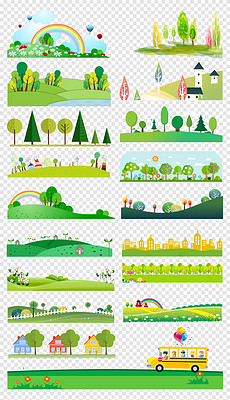 50款绿色卡通草地草坪花卉蝴蝶花草树木森林边框png素材