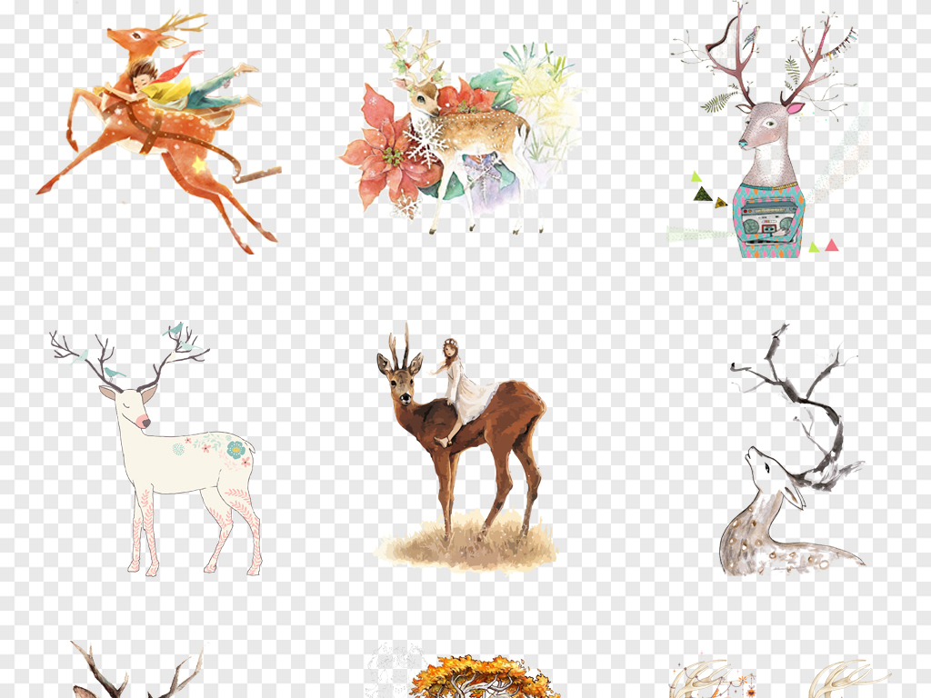 卡通麋鹿素材水彩创意手绘鹿手绘水彩森林麋鹿手绘素材森林鹿剪影手绘