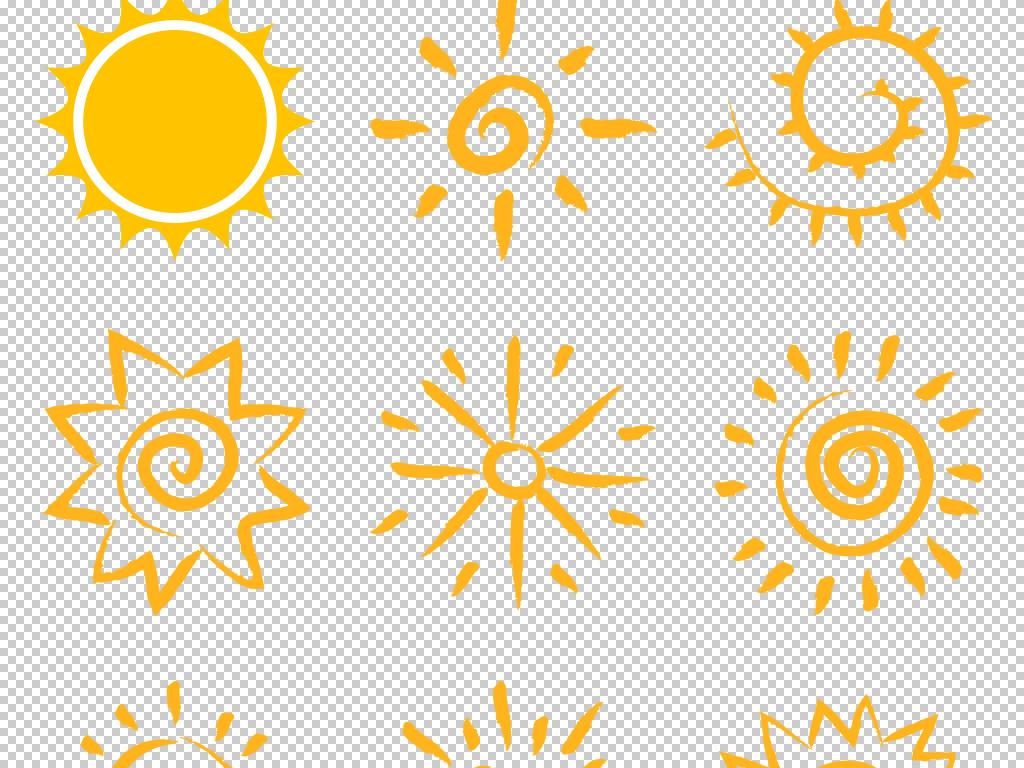 卡通可爱儿童手绘简笔画太阳PNG设计素材图片 模板下载 4.03MB 气象大全 自然