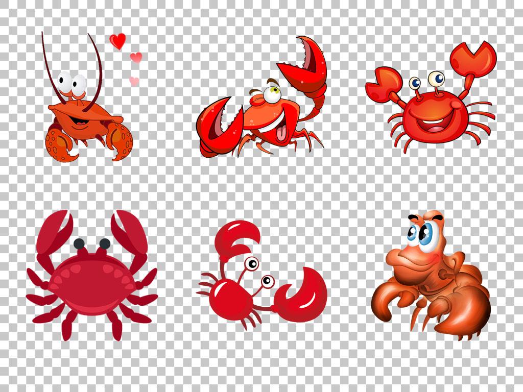 可爱手绘卡通螃蟹大闸蟹美食png素材