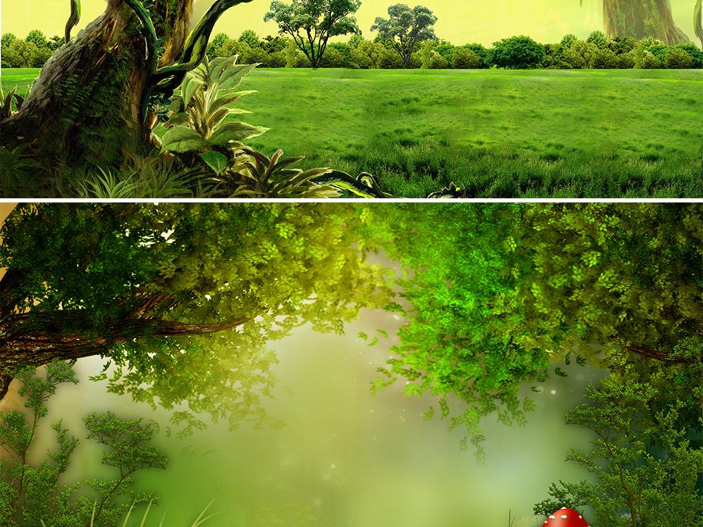 卡通手绘绿色秋季梦幻森林大自然海报banner背景