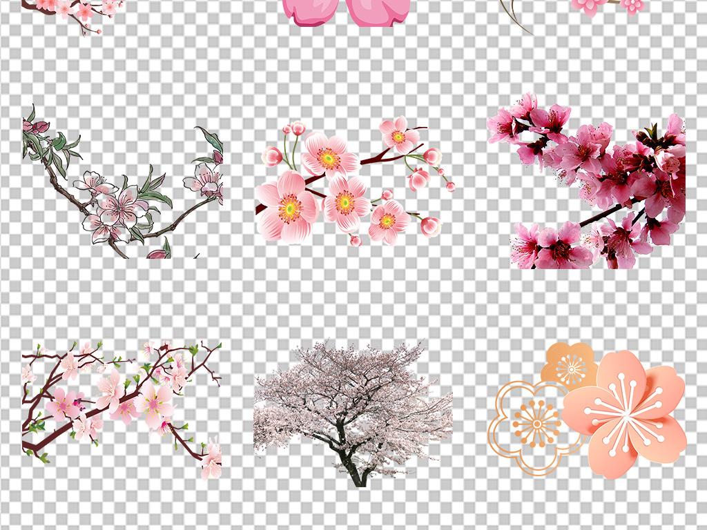 背景卡通清新手绘素材高清海报精美图片卡通背景桃花花卉素材花朵元素