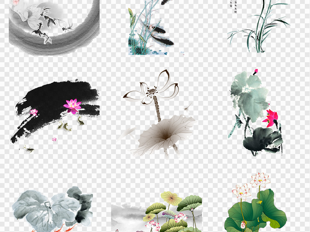 简笔画鲤鱼装饰图水中荷花莲花莲子荷花剪纸古风手绘