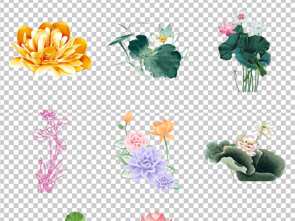 植物水墨中国风装饰画挂画ppt手绘花花卉花语荷花素材小报绿叶手绘