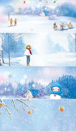 创意蓝色冬季卡通雪景二十四节气大雪banner背景图片-JPG冬季女孩