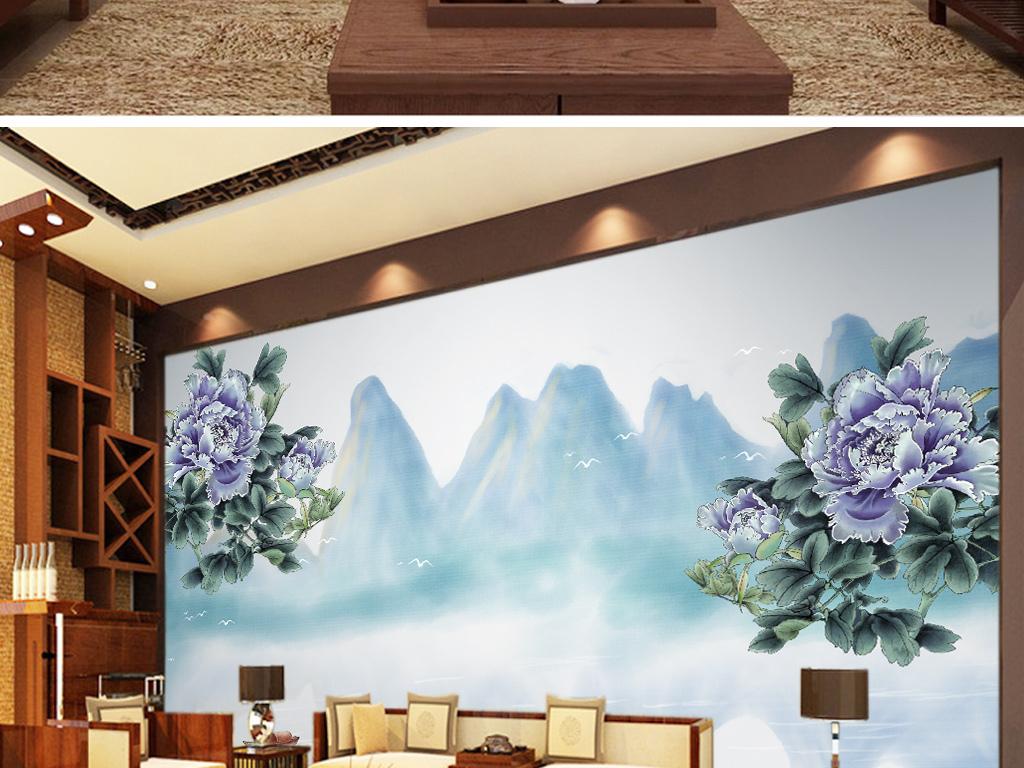 新中式手绘牡丹国画山水电视背景墙壁画