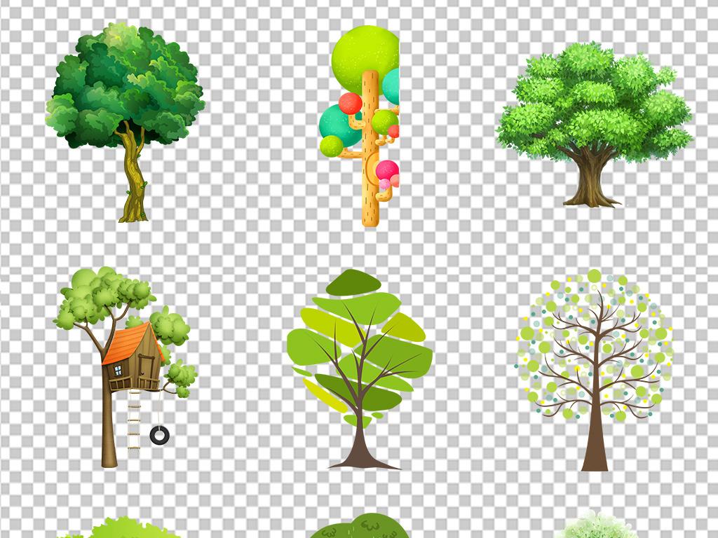 卡通可爱手绘树绿树大树海报素材背景图片png