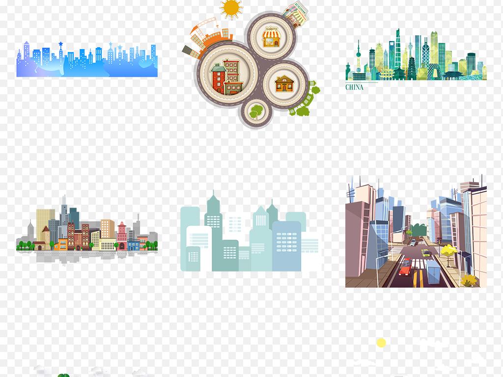 上海楼宇写字楼建筑卡通素材手绘城市城市城市建筑背景图片城市剪影