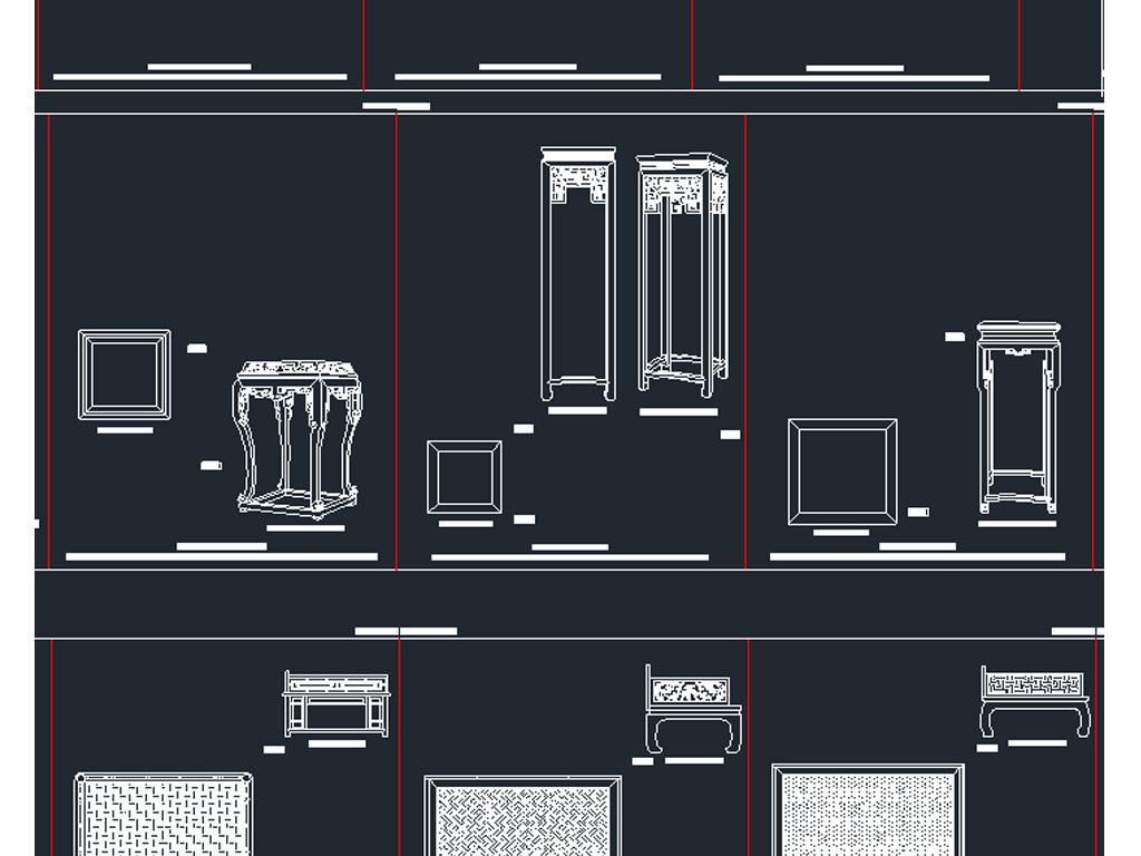 中式家具三视图CAD图纸平面设计图下载 图片43.96MB CAD图纸大全