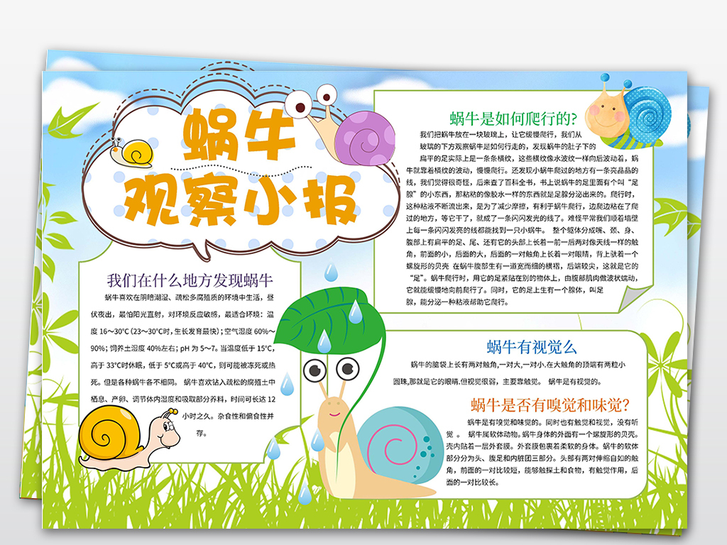 手抄报|小报 学科手抄报 科学手抄报 > word蜗牛观察日记动物小报