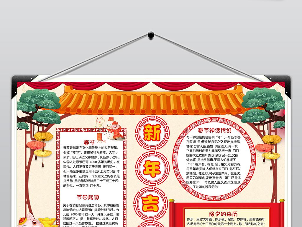 歡樂春節小報新年快樂手抄報豬年電子小報圖片