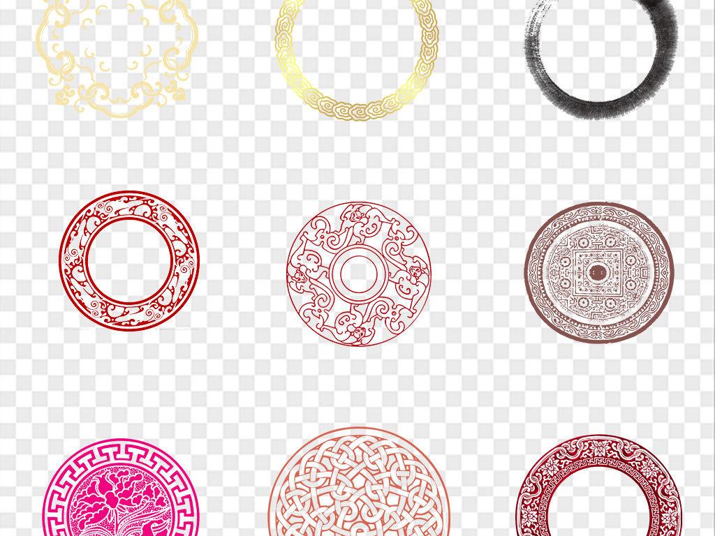 水墨中国风圆环中式圆形边框窗花海报素材