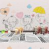 现代简约彩色手绘可爱卡通大象儿童房背景墙