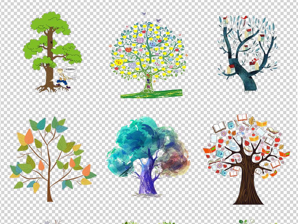 免抠元素 自然素材 树叶 > 可爱手绘抽象卡通树绿树大树海报素材背景