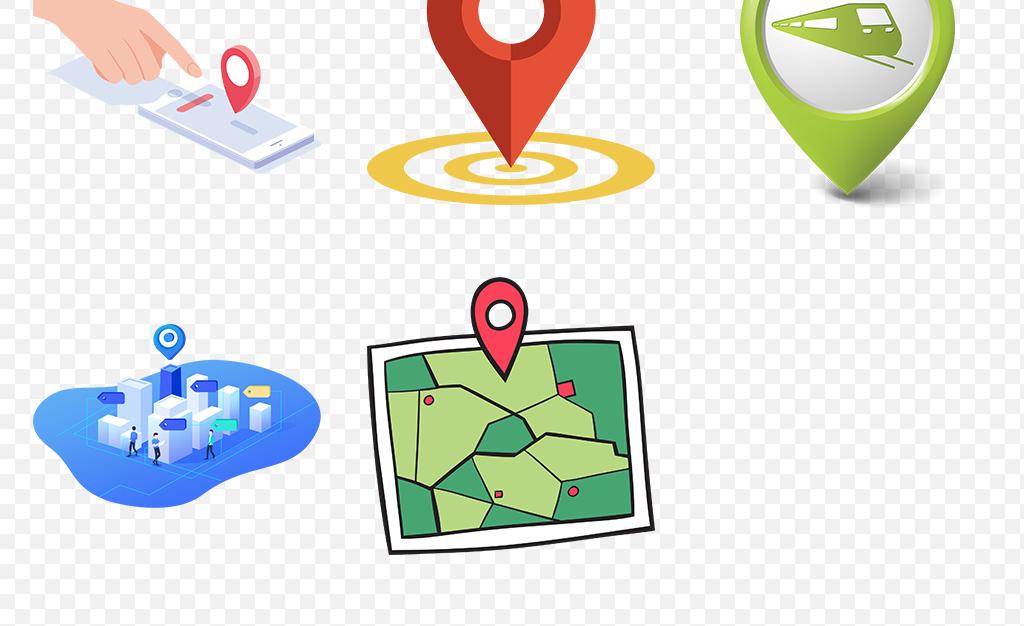 地理位置地图引脚手绘坐标元素定位标识标记