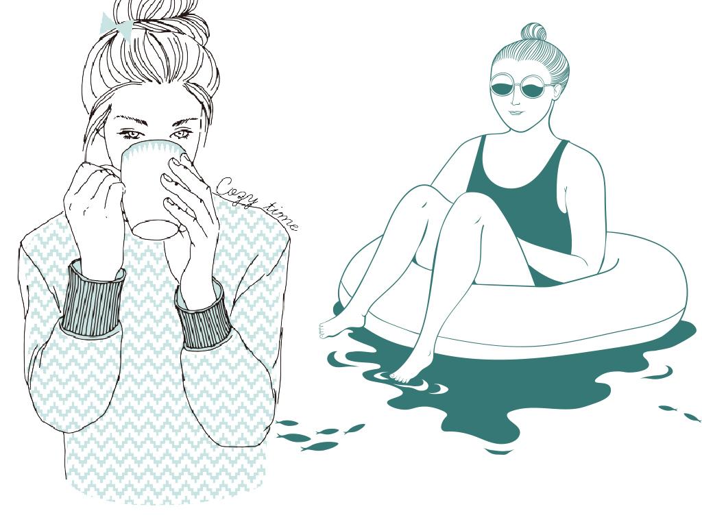 男生冰淇淋女生人脸卡通人物线条手绘人物线条人物手绘线条人物手绘