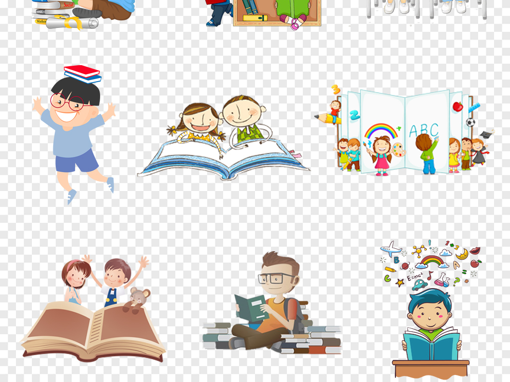 卡通翻开的书本儿童读书阅读看书海报背景图片png素材