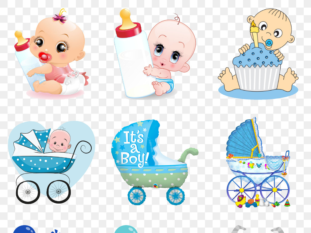 婴儿奶粉推车衣服卡通球孕妇宝宝广告海报