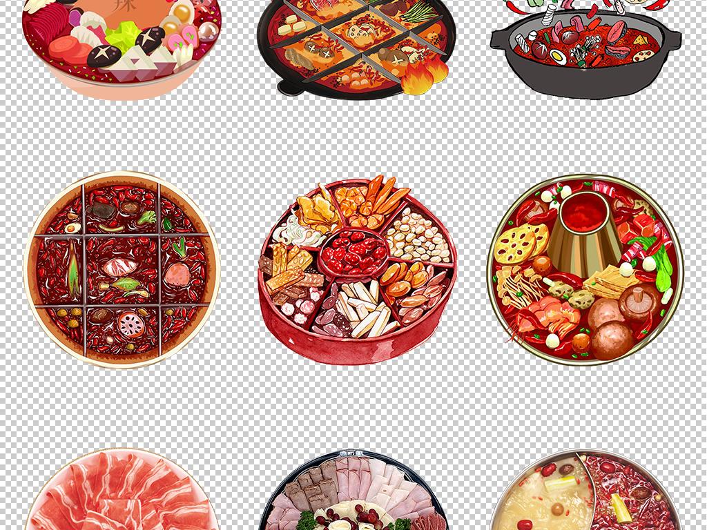 卡通手绘川味重庆火锅餐饮美食海报png免扣素材