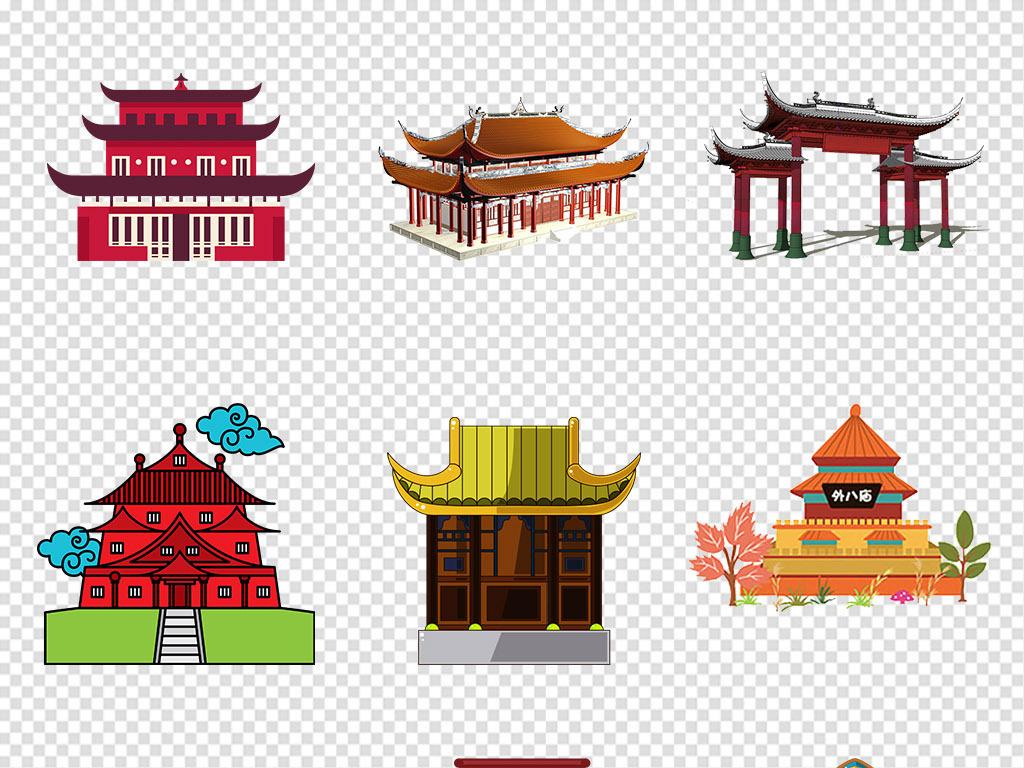 房顶古代宫廷古建筑中国扁平化手绘城墙古代建筑免抠素材卡通素材古风