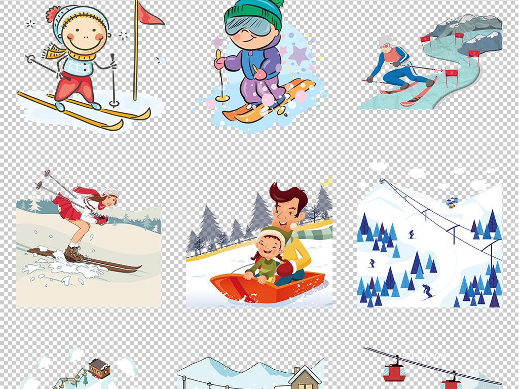 卡通手绘冬季滑雪运动人物户外姿势海报png素材