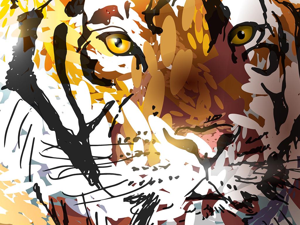 多彩现代抽象点彩创意动物头像装饰画元素图片