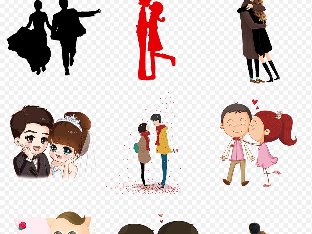 卡通手绘可爱情侣七夕节人物恋爱海报素材背景图片png