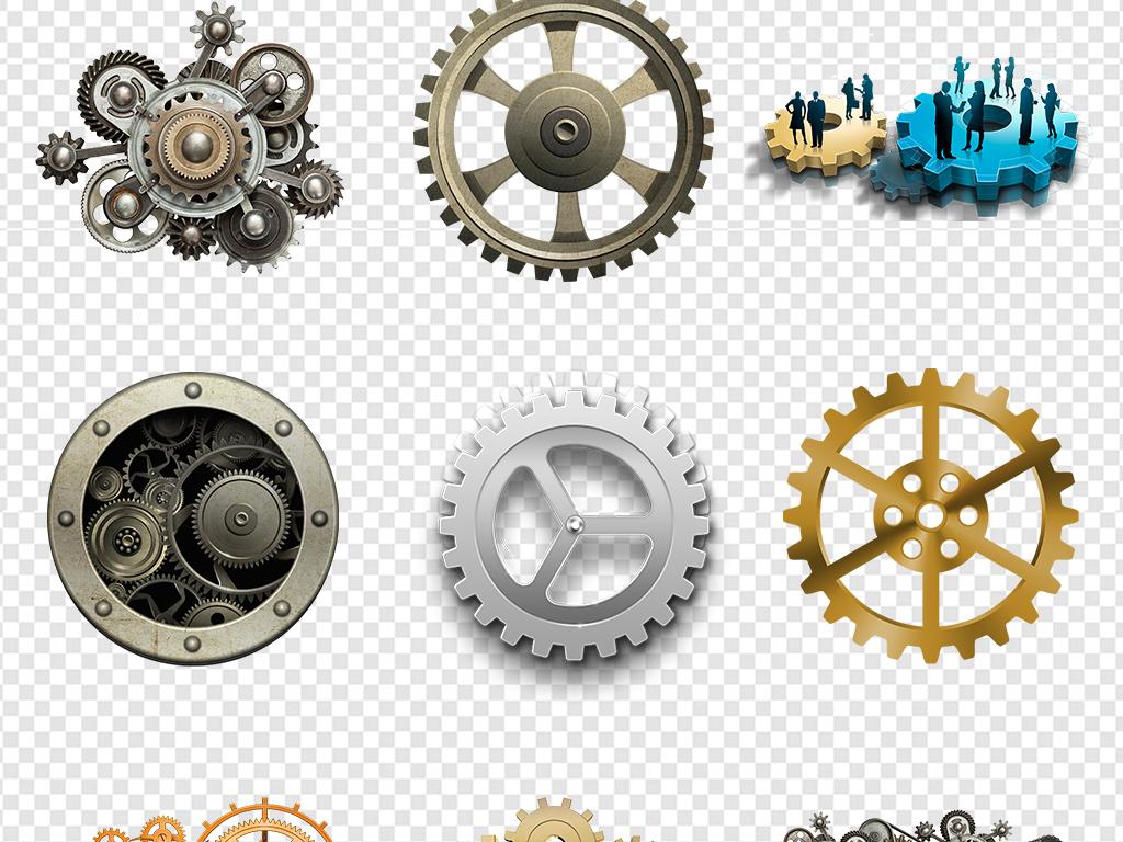 图片手绘边框金色科技素材齿轮标志金属科技素材金属齿轮商务素材金属