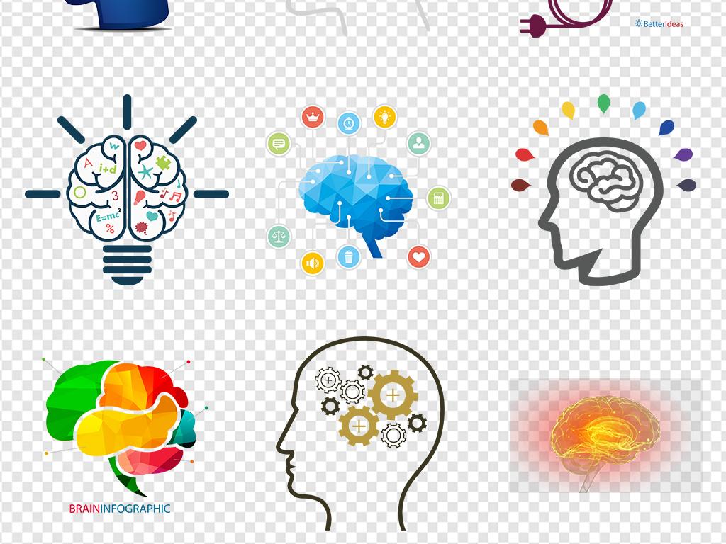 大脑皮层形状创意科技手绘免扣背景设计素材