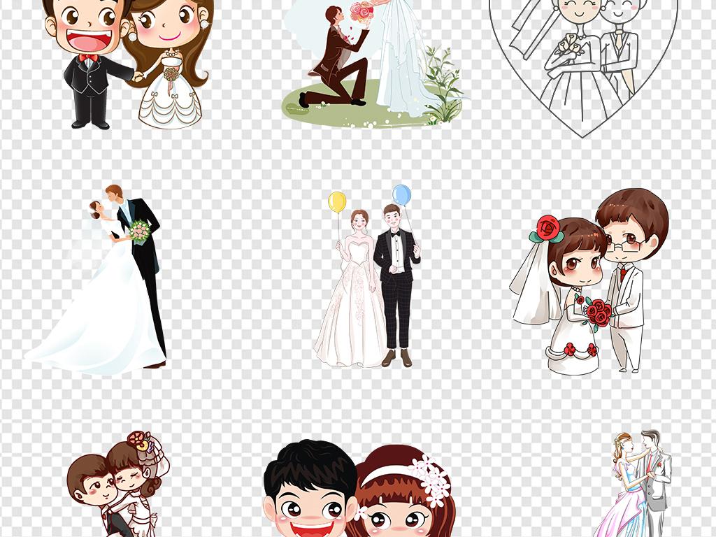 新郎新娘剪影婚礼婚庆结婚喜庆卡通免扣素材
