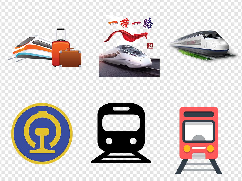 卡通通手绘火车动车高铁图标标志图片素材