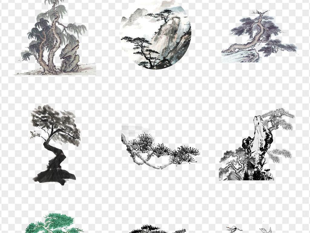 中国风手绘松树仙鹤松枝迎客松水墨画海报ppt展板png免扣元素