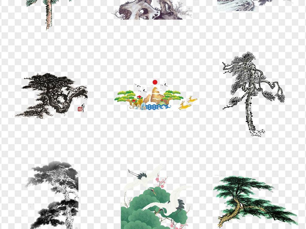 中国风手绘松树仙鹤松枝迎客松水墨画海报PPT展板png免扣元素模板下载 193.45MB 其他大全 生活工作图片