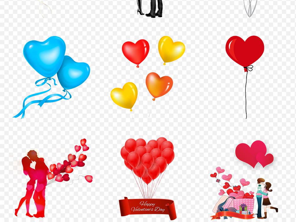 卡通手绘彩色心形气球海报素材背景图片png