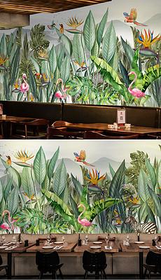 6米大型手绘热带雨林东南亚植物花鸟背景墙-工装背景墙图片素材 原创