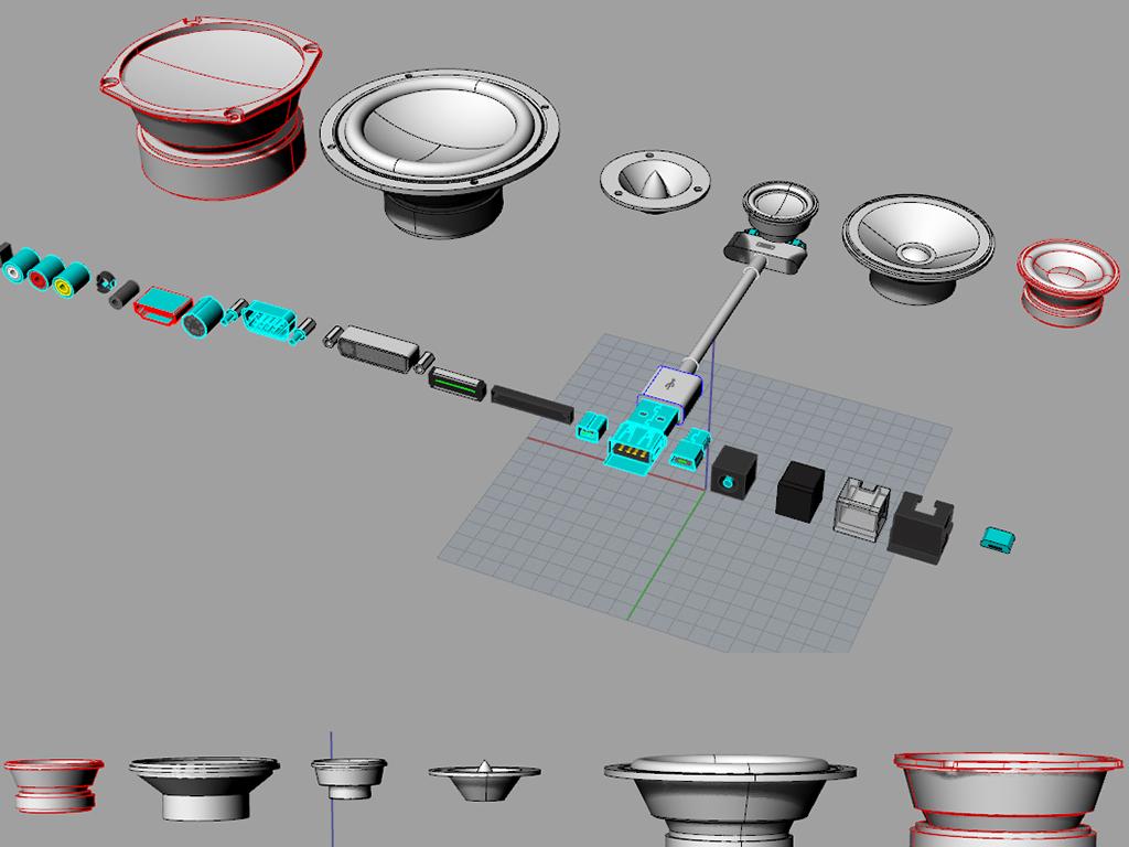 原创喇叭音响音箱接口结构零件模型各软件