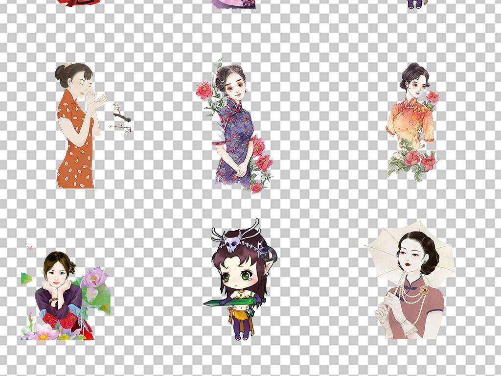 可爱女生卡通迷你游戏人物武侠素材手绘美女古装