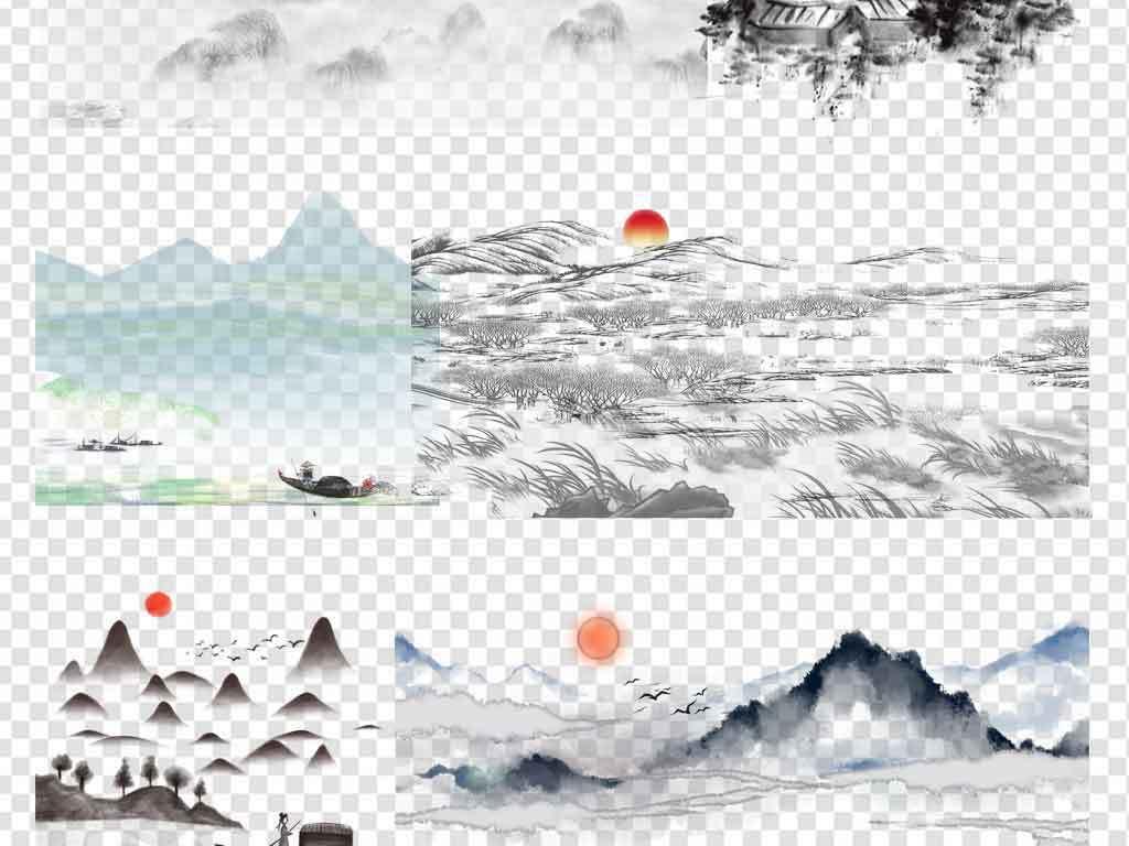 古典中国风水墨山水背景png图片风景素材