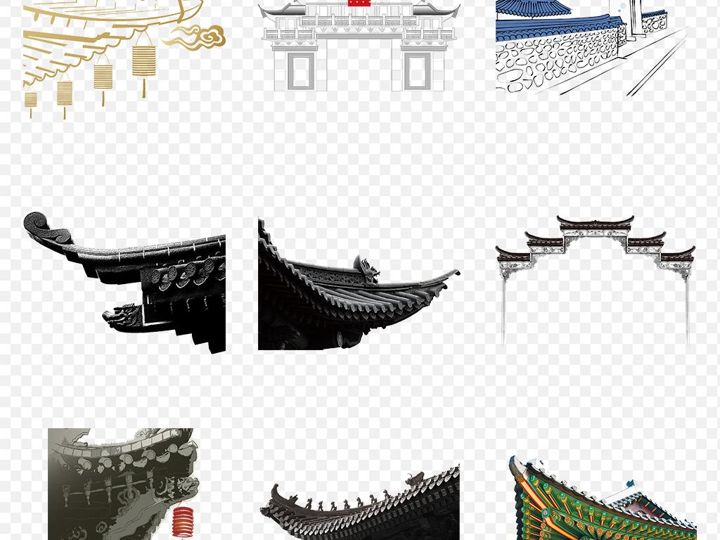 墨迹古典屋檐中式建筑仙鹤建筑中国画灯笼寺庙瓦片一角坡屋顶