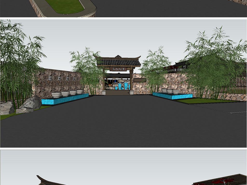 生态农庄农家乐su模型设计图下载(图片32.45mb)_建筑图片