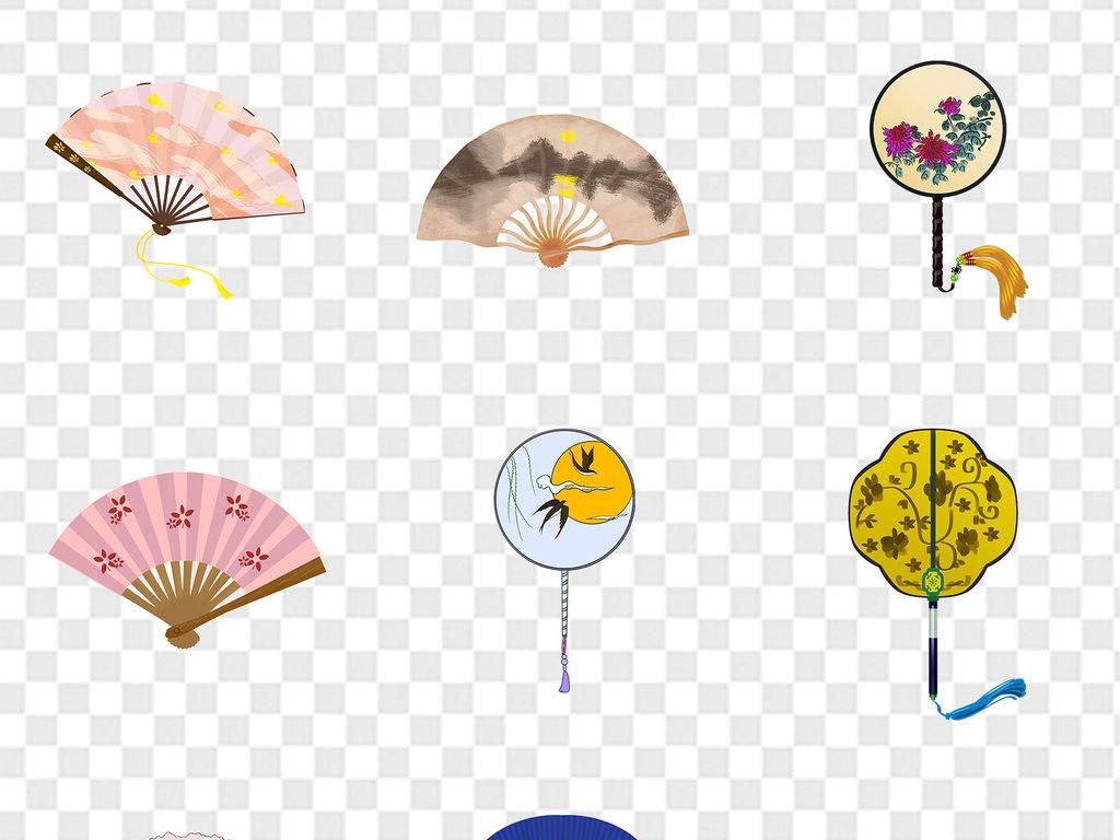 卡通手绘中国风古典古风圆形扇子海报ppt展板免扣素材