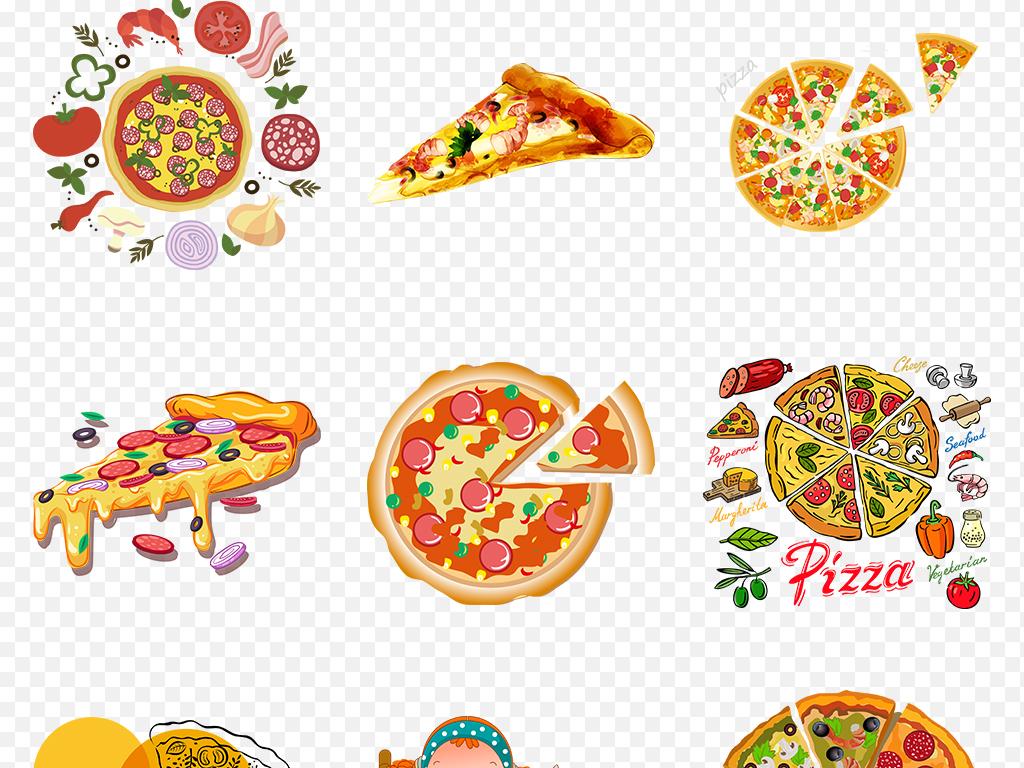 卡通手绘美味披萨匹萨海报素材背景图片png