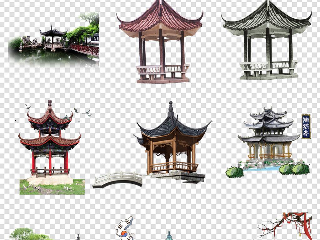 手绘背景图片古风背景中国素材亭子png背景中国古风古风素材中国背景
