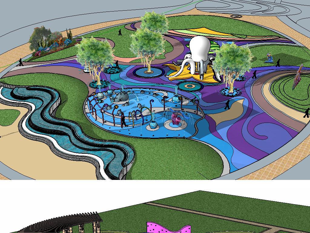 小区游乐园儿童游乐设施su模型设计图下载(图片760.04图片