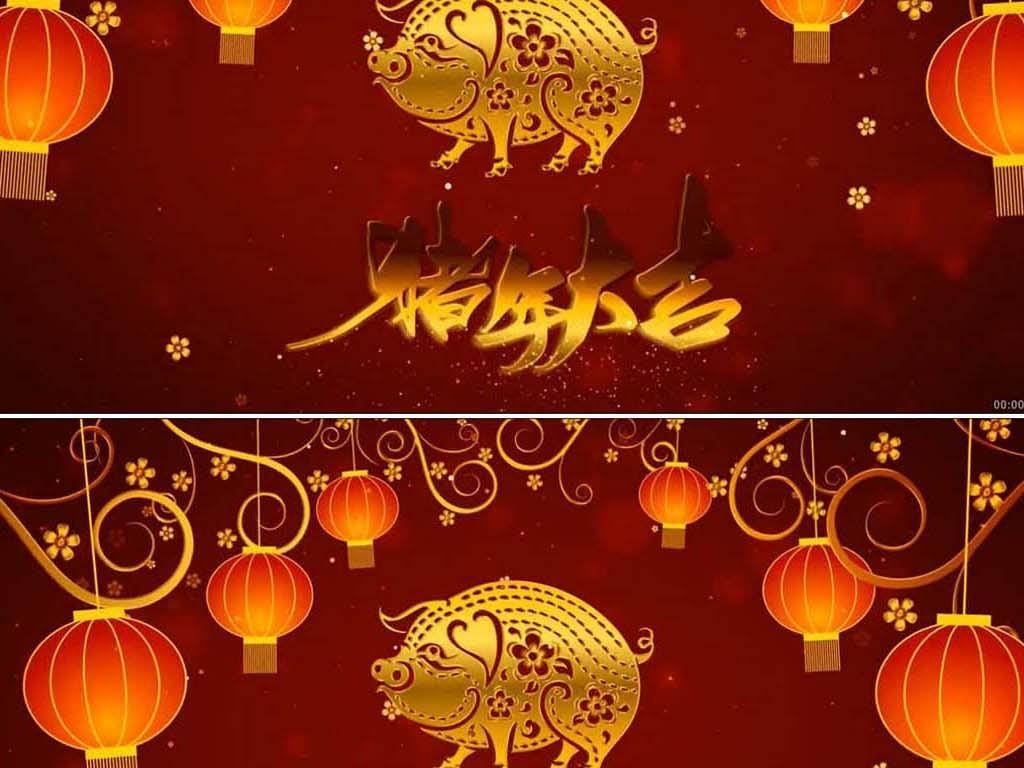 红红火火灯笼高挂猪年大吉迎新年片头ae图片