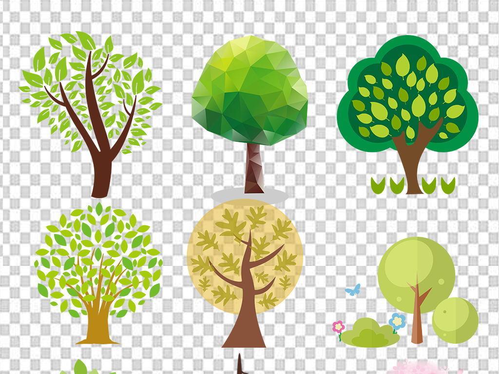 卡通手绘大树绿树树木植物海报背景png免扣素材